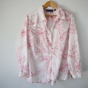 Susan Graver Floral/Leaf Print Button Down Top